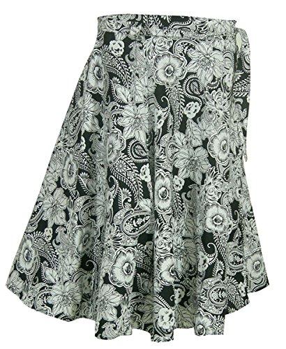 Indien-Baumwollkleidung-Frauen druckte Sommer-Verpackungs-Rock SchwarzNWeiß2