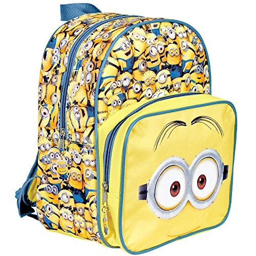 Kinder Rucksack für Jungen Ich Einfach unverbesserlich - Schulranzen mit Minions - Schulrucksack für Schule und Kindergarten mit Verstellbaren Schulterriemen - Gelb - Perletti 31x24x12 ()