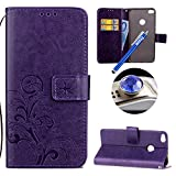 Huawei P8 Lite 2017 Leather Case,Huawei P8 Lite 2017 Wallet Case, Etsue Cute Butterfly Flower Embossing Style Flip Leather Wallet Case Cover Retro Strap Lanyard Design Bookstyle Card Slots Flip Protective Magnetic Cover for Huawei P8 Lite 2017+Blue Stylus Pen+Bling Glitter Diamond Dust Plug(Colors Random)-Purple