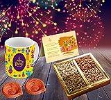 #5: Happy Diwali Superior quality ceramic Mug Capacily (350) ML , Greeting Card, Hand Made Diya and Dry fruits by Aart Store