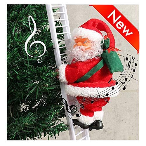 Électrique Escalade Échelle Père Noël père noël Escalade électrique sur échelle de Corde Suspendu extérieur Decoration Gifts Santa grimpant sur Une échelle décor d'arbre Arbre de Noël intérieur (1PC)