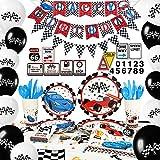 WERNNSAI Articoli per Feste per Auto da Corsa - Decorazioni per Feste di Compleanno per Ragazzi Banner Palloncini Tovaglia Piatti Tazze Tovaglioli Cupcake Toppers Serve 16 Ospiti 204 Pezzi