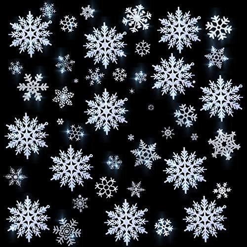 Boao 93 Stücke Statisch Funkeln Schneeflocke Fenster Aufkleber mit 12 Stück Weiß Funkeln Schneeflocken Ornamente Kleiderbügel Dekoration (Schneeflocke-aufkleber Funkeln,)