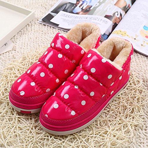 DogHaccd pantofole,Inverno indoor e outdoor onda usura Dot scarpe di cotone, home soggiorno anti-slip di cotone di pavimentazione pantofole di spessore maggiorato di velluto Il rosso1