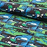 Stoff Baumwolljersey Jersey Dinos ROARRR!!! grün blau 50cm