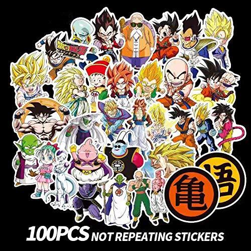 punipuni 100 Pieces Dragon Ball Stickers Super Saiyan Goku Decal for Snowboard Luggage Car Fridge Laptop Moto DIY Sticker Dekorpapier -