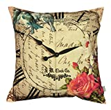Air Castle- Home Decore- Polyester & Polyester Blend- Vintage clock Cushion Cover best price on Amazon @ Rs. 789
