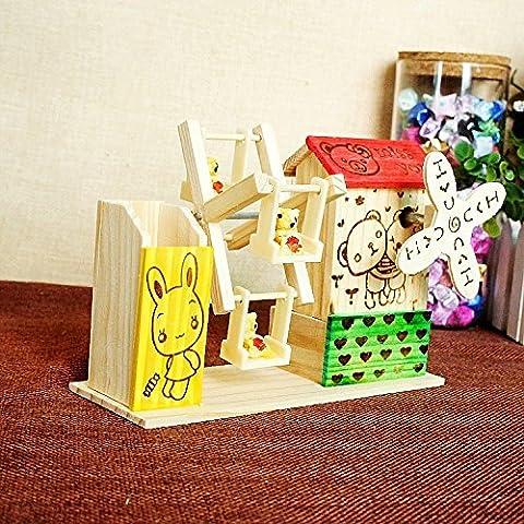 LQK-Regali di compleanno di music box di legno pratico penna , little bear
