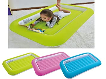 Kids Childrens Inflatable Safety Flocked Kiddy Airbed Toddlers Camping Air Beds Soft Comfortable Fun Colourful Guest