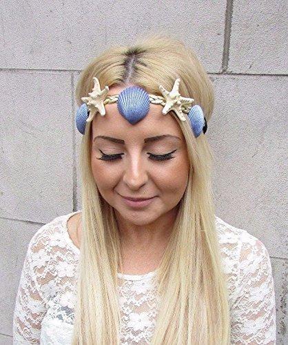 emefarben, blau mit echtem Seestern und Muscheln, Meerjungfrau.Kostüm, 2485, exklusiv von Starcrossed Boutique (Meerjungfrau Stirnband)