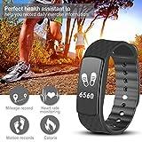 Herzfrequenz Fitnessarmband, Fitness Tracker mit Pulsmesser Bluetooth 4.0 Smart-Herzfrequenz Monitor Armband Schrittzähler Schlafanalyse Aktivitätstracker Kalorienzähler Schlaftracker, IP67 Wasserdichte Aktivität Tracker für Android 4.4, iOS 8.0 oder höher Smartphones, von AGPTEK, Schwarz - 2