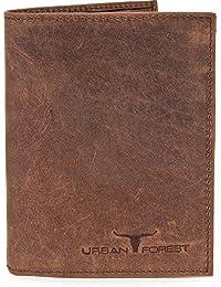 Handgefertigtes Leder Portemonnaie Geldbörse Lederbörse Brieftasche im Hochformat mit extra vielen Fächern aus feinstem Leder mit Veredelung in Schwarz Braun Cognac von URBAN FOREST