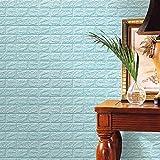 Ogquaton 1 UNID 60 X 60 CM PE Espuma 3D DIY Pegatinas de Pared Azulejo de Cerámica Kid 's Ropa de Cama Decoración de Ladrillo En Relieve Piedra de Piedra Azul Claro Durable y útil