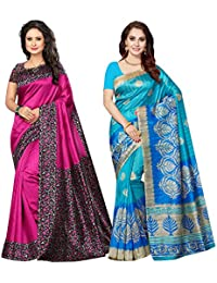 Ishin Combo Of 2 Poly Silk Printed Women's Saree/Sari