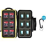 JJC Minneskort väska vattentätt skyddsfodral för 12 SDXC SDHC SD-kort och 12 mikroSD-kort med karbinhake