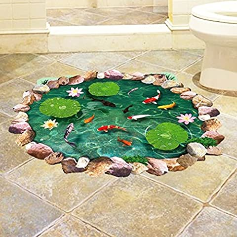 Fantastic 3D Lotus Leaves Fishes Fishpond Wall