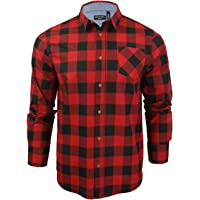 BRAVE SOUL Mens Shirt Garfield Brushed Long Sleeved Check Flannel