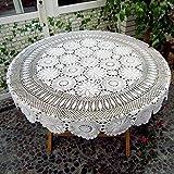 Ustide Floral Mano Ganchillo mantel blanco mesa de superposición de encaje de algodón ganchillo funda para mesa redonda, algodón, Blanco, diameter 51inch(130cm)