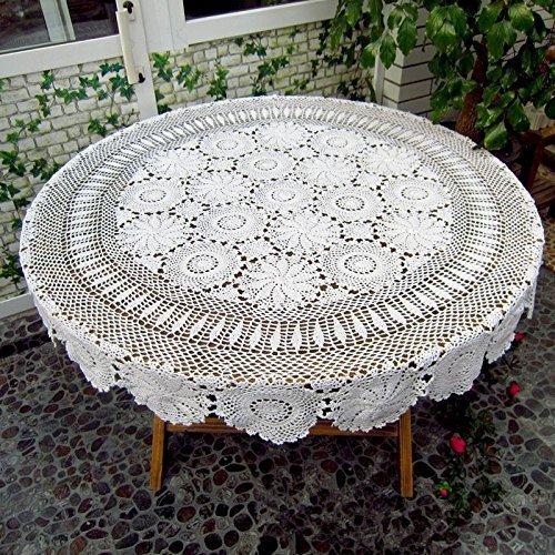 ustide Floral Hand Häkel Tischdecke weiß Baumwolle Tisch Overlays Lace Crochet Tisch, rund, baumwolle, weiß, diameter 51inch(130cm)