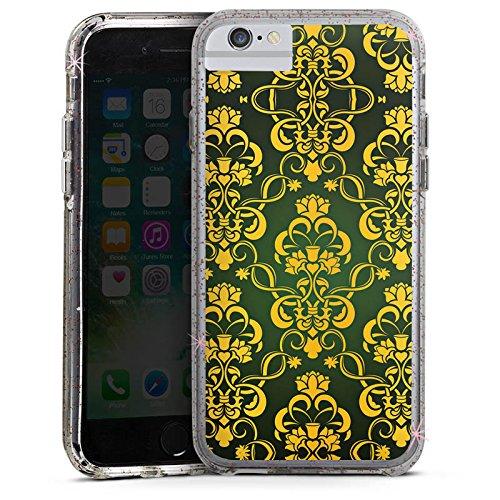 Apple iPhone 8 Bumper Hülle Bumper Case Glitzer Hülle Blumenmuster Krone Crown Bumper Case Glitzer rose gold