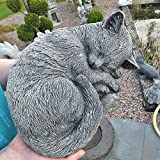 Steinfigur Katze Schlafend Mieze Deko Garten Tier Figur Gartenfiguren Skulptur patinierter...