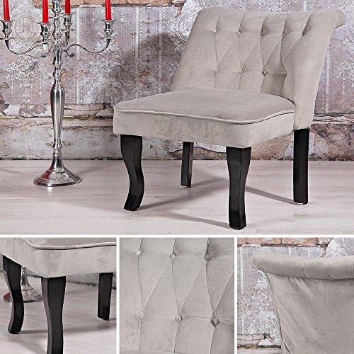 Design Esszimer Sessel grau + Nackenrolle Barock Lehnstuhl Wohnzimmer Stuhl silb