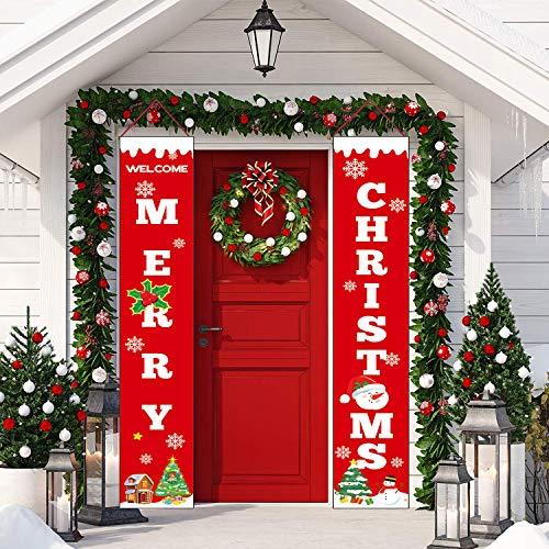 Sayala decorazioni di natale outdoor indoor - 2 pezzi di benvenuto buon natale portico segno banner door - benvenuto decorazioni per porta di natale decor