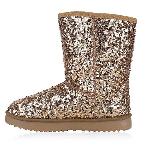 Damen Schuhe Schlupfstiefel Boots Winterstiefel Gold Metallic
