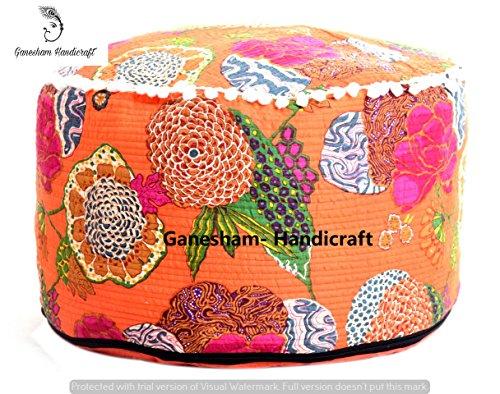 Hippie Gypsy Boho Decor sala de estar algodón hecho a mano Funda Bean Bag Bazaar Ethnic asiento puf bohemio indio decorativo Kantha Cojín de suelo almohadas & Vintage reposapiés puf infantil otoomans de cartucho