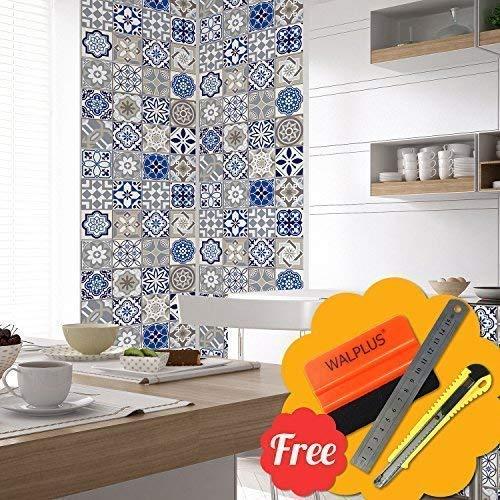 Walplus Entfernbarer Selbstklebend Wandkunst Aufkleber Vinyl Wohndeko DIY Wohnzimmer Schlafzimmer Küche Dekor Tapete Vintage Spanish Mosaik Wand Fliesen Aufkleber 48 Stk. 15cm X 15cm -