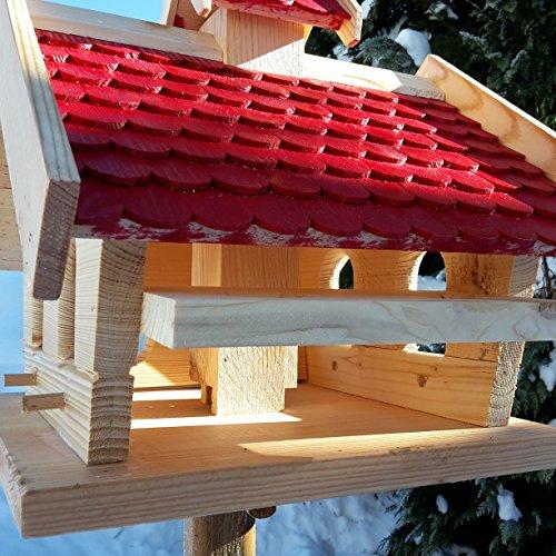 Vogelhaus-XXL mit Holzschindeln und Putzklappe lasiert Vogelhäuser-Vogelfutterhaus großes Vogelhäuschen-aus Holz Wetterschutz (Rot) - 4