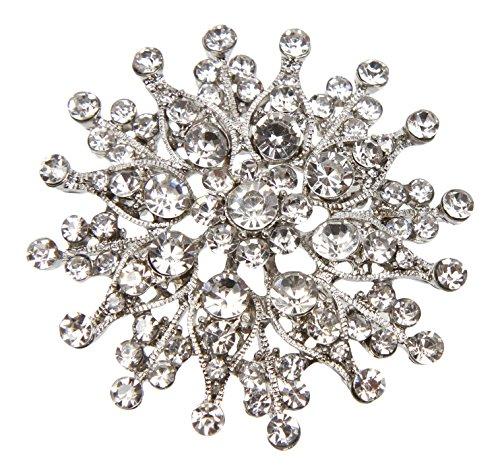 Unbekannt Große Braut Strass Kristall Brosche Sternförmig mit Anstecknadel Silber (BR014)
