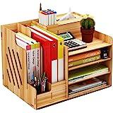 Wooden Desk Organizer, Large Capacity DIY Office Supplies Storage Box File Rack Paper Document Magazine Holder Sorter (Cherry