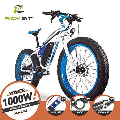 RICH BIT® RT-012 1000 W bicicleta eléctrica para bicicleta Cruiser bicicleta Ciclismo 48 V 17Ah batería de alta capacidad 7...