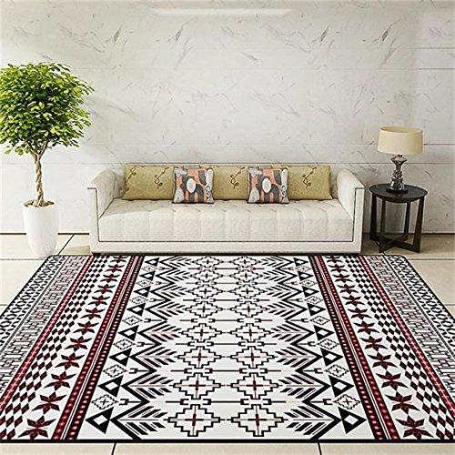 GRENSS Die nationalen Stil Wohnzimmer dekorativen Teppich Tür Yoga Mat Pad Badezimmer Teppich Rot Schwarz ethnische Gestreifte Floral, ethnischen rot, 80 x 140 cm 31 x 55 Zoll -