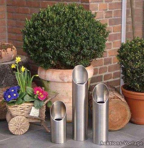Preisvergleich Produktbild Feuersäule Edelstahl, 3er Set Bioethanol Brenngel Gelkamin Garten Haus