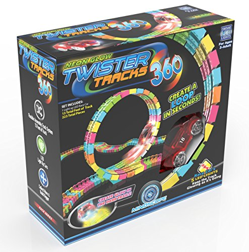 acks Trax 360 Loop 15' (feet) of Neon Glow in the Dark Track with Two Light-Up (Pulse LED) Vehicles Sports Car Series by Mindscope (Baby-light-up Spielzeug)