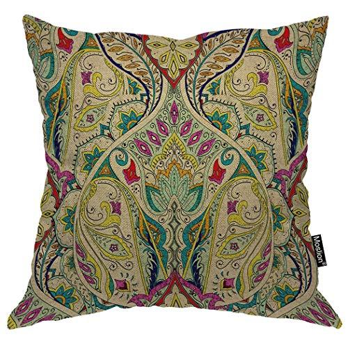 Magictop Paisley Kissenbezug Vintage ethnischen böhmischen Floral Leaf Aztec Indien Boho Throw Pillow Cover Baumwolle Leinen für Zuhause Sofa dekorative quadratische Kissen 18 x 18 Zoll -
