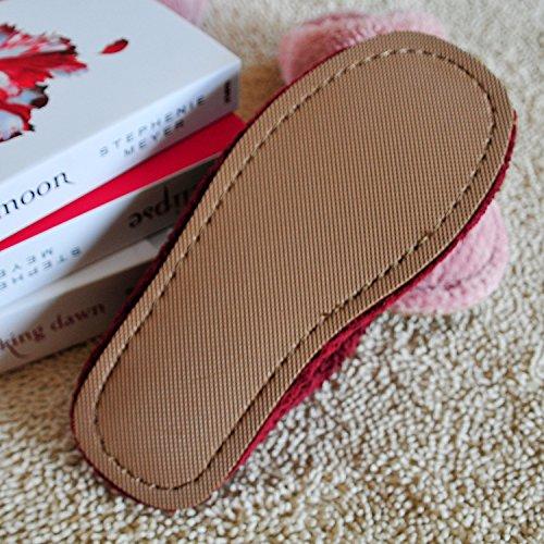 Mhgao da donna casual pantofole in interni per tenere caldo in autunno e inverno pantofole pile coral, Pink, M Pink