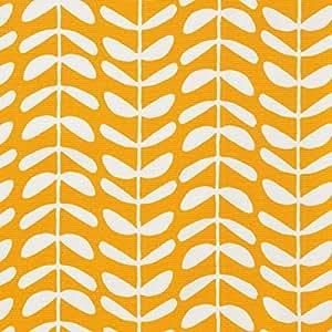MIRABLAU DESIGN Stoffverkauf Bio Baumwolle Canvas GOTS weiße Ranken auf gelb (16-057M), 0,5m