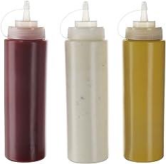 Gewürzflaschen mit Drehdeckel, Kunststoff, 570 ml, für Ketchup-Senf, Mayo, heiße Soßen, Olivenöl, transparent, 3 Stück