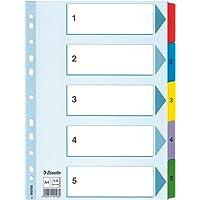 Esselte Intercalaires A4 1-5, Touches et Bande Perforée Renforcées en Mylar, Carton Résistant, Bleu, 5 Onglets avec…