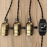 """KingSo® Fassung für Glühbirne E27/E26""""Edison"""" Adapter Lampe 110–220V Set mit Drei Fassungen mit Schalter maximal 2m Kabel europäischer Stecker, schwarz"""