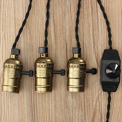 KINGSO E27 Trois Douilles Edison Set Pententif Lustre Suspensions avec Interrupteur d'écairage Dimmable Vintage Antique Rétro Adaptateur de Lampe 110-220V avec Câble à Prise Européenne Laiton Antiqu