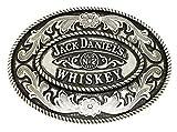 Jack Daniels Gürtelschnalle - Old Nr. 7 Brand - Ovale Geformte Floralen Design - Offiziell Lizenziertes Markenprodukt