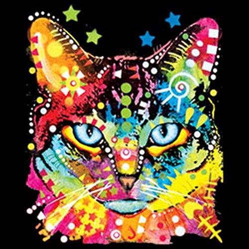 Damen T-Shirt mit buntem Motiv: Blue Eyes - Katze - Sexy Girlie Shirt - Geschenk zum Geburtstag - Damen Oberteil - schwarz Schwarz