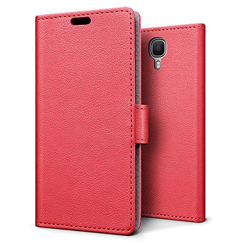 SLEO Doogee X9 Pro Hülle – Premium Luxuriös PU lederhülle [Vollständigen Schutz] [Kreditkartenfach] Flip Brieftasche Schutzhülle im Bookstyle für Doogee X9 Pro - Rot