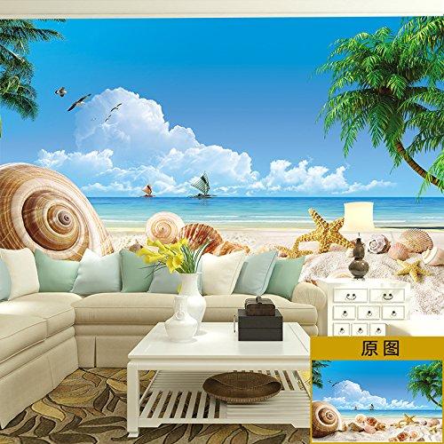 Lzhenjiang Wandbilder Seidentuch Strand Muschel Wall Art Dekor Aufkleber Wandfliesen Kunst 3D-Spiegel - Kühlschrank Aufzugstür Papier