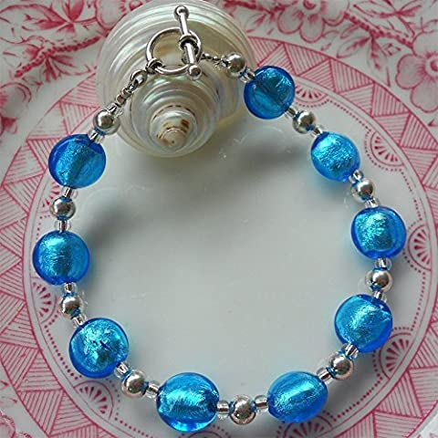 Diana Ingram turquoise Murano glass oval 'smartie' bead (10mm) bracelet