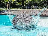 casamia Outdoor-Pouf Sitzpouf Sitzpuff 100% wasserfest Grobstrick-Optik Ø 55 cm extrahoch Höhe 37 cm grau - Silbergrau